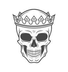 Skull king crown design element vintage royal t vector
