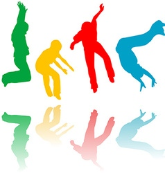 Colored children silhouettes jumping vector