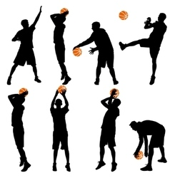 Set back silhouettes of men playing basketball on vector