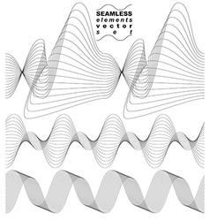 Slender 3d textile motif background set of curved vector