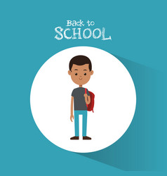 Back to school student afro boy red backpack vector