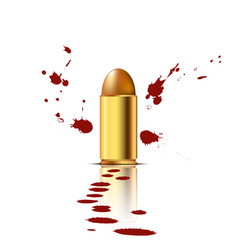 bullet with blood background vector image vector image