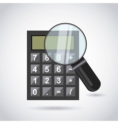 Calculator and magnifying glass vector