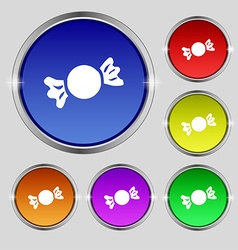 Candy icon sign round symbol on bright colourful vector