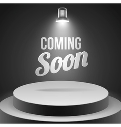 Coming soon message illuminated with stage light vector image