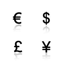 Currency symbols drop shadow icons set vector
