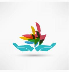 dove in hand vector image