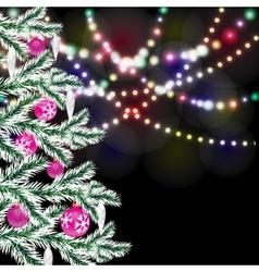 Fancy christmas tree bright festive lights vector