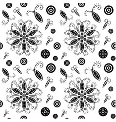 flower abstract seamless pattern black and white vector image vector image