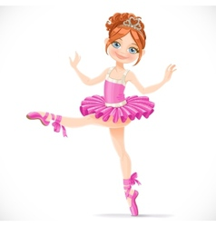 Graceful brunette ballerina girl dancing in pink vector