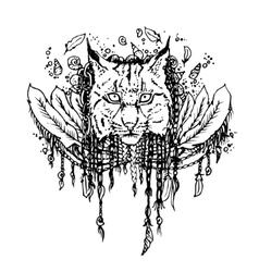 Graphic black lynx vector