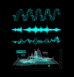 graphic musical equalizer sound waves on a black vector image vector image