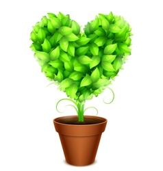 Green leaves heart vector