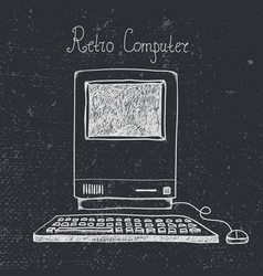 Hand drawn doodle retro computer isolated vector