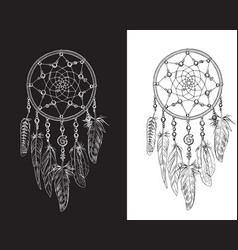 hand drawn ornate dreamcatchers with feathers vector image vector image