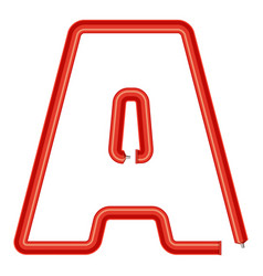 letter a plastic tube icon cartoon style vector image vector image