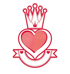 Loving heart artistic with queen crown and ribbon vector