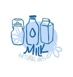Milk natural product logo symbol colorful hand vector