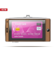 Mobile phone in the form of a wallet electronic vector