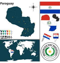 Paraguay map world vector