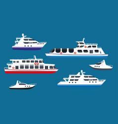 Passenger sea cruise liner ships yachts marine vector