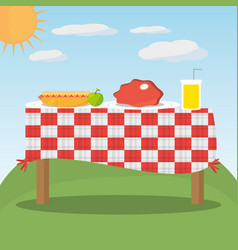 picnic table red checkered food landscape vector image vector image