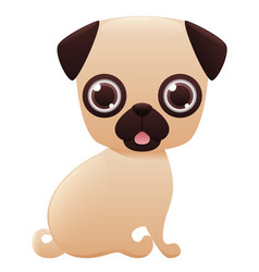 Pug cute cartoon character vector