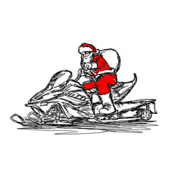 santa claus driving snowmobile vector image