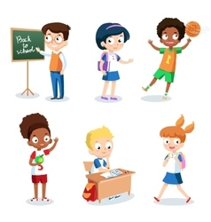 Set of cheerful school children Students cartoon vector image
