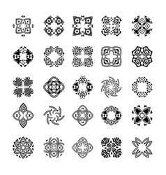 Set of tribal black and white patterns vector