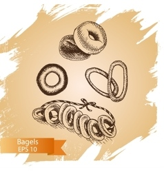 sketch - bakery bagels Card vector image vector image