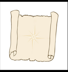 sketch of ancient scroll with nautical compass vector image
