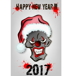 Skull scary evil clown in santa hat vector