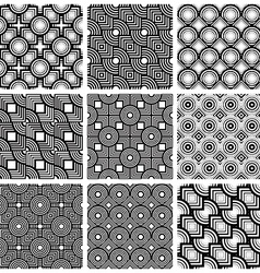 Squares and circles black and white geometric vector image vector image
