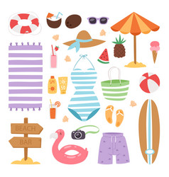 Summer fashion beach sea time swimsuit clothes and vector