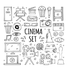 The hand drawn elements to create a logo cinema vector image