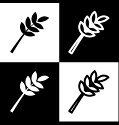 Tree branch sign black and white icons vector