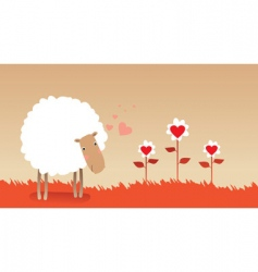 Valentine sheep vector