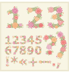 vector colorful flower font vector image vector image