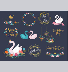 Wedding and birthday set with swan lettering vector
