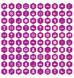 100 boxing icons hexagon violet vector image vector image