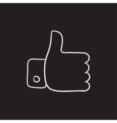 Thumb up sketch icon vector