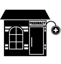 Black icon of pharmacy vector image