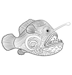 Hand drawn creepy fish with high details vector