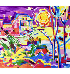 Painting of colorful rural landscape vector