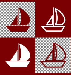 Sail boat sign bordo and white icons and vector