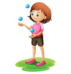 A girl juggling vector image