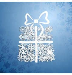 Gift box of snowflakes vector image