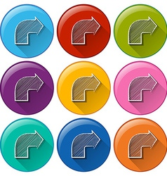 Circle buttons with arrows vector