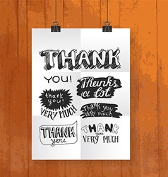 Hand draw lettering thank you- poster one wood vector
